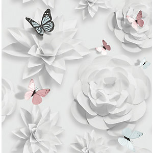 Superfresco Easy White Origami Florals Decorative Wallpaper - 10m