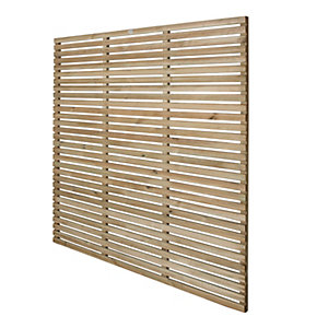 Forest Garden Contemporary Single Slatted Fence Panel - 6 X 6ft Multi Packs