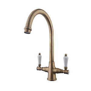 Wickes Zores Monobloc Kitchen Sink Mixer Tap - Antique Brass Brushed