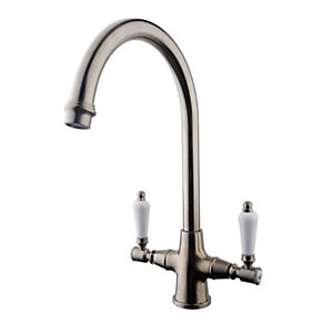 Wickes Zores Monobloc Kitchen Sink Mixer Tap - Brushed Chrome
