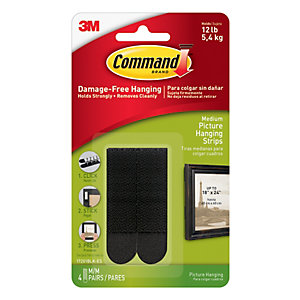 Command Black Medium Picture Hanging Strips - 4 Pairs