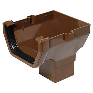 FloPlast 114mm Square Line Gutter Stop End Outlet - Brown