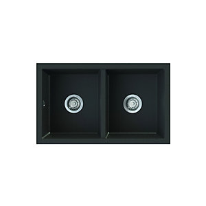 Onyx Undermount 2 Bowl Composite Kitchen Sink - Black