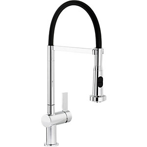 Abode Ophelia Single Lever Pull Out Spray Sink Tap - Chrome & Black