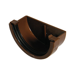 FloPlast 76mm MiniFlo Gutter External Stop End - Brown