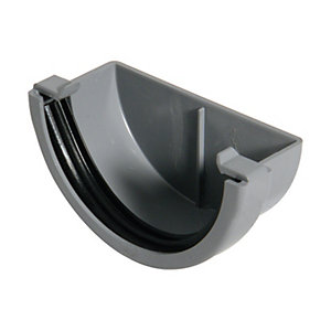 FloPlast 76mm MiniFlo Gutter External Stop End - Grey