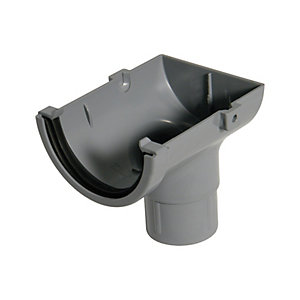 FloPlast 76mm MiniFlo Gutter Stop End Outlet - Grey