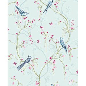 Superfresco Easy Songbird Duck Egg Decorative Wallpaper - 10m