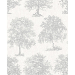 Superfresco Easy Enchanted Tree Silver Decorative Wallpaper - 10m