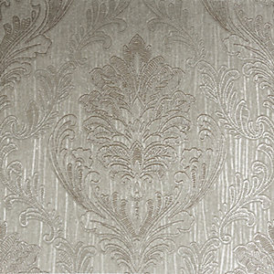 Boutique Corsetto Damask Taupe Decorative Wallpaper - 10m