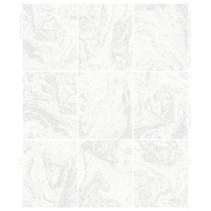 Contour Glitter White Marble Tile Kitchen & Bathroom Wallpaper - 10m