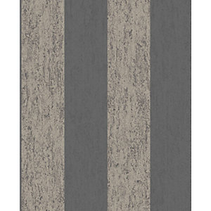 Superfresco Easy Mercury Stripe Black Decorative Wallpaper - 10m