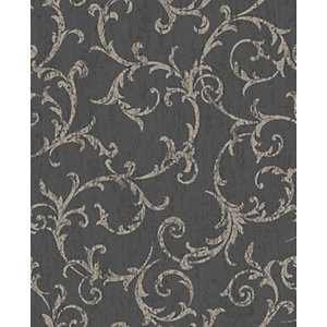 Superfresco Easy Empress Scroll Black Decorative Wallpaper - 10m