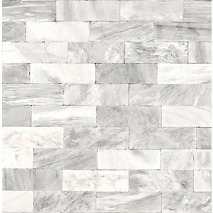 Superfresco Easy Herringbone Marble Tile Decorative Wallpaper - 10m