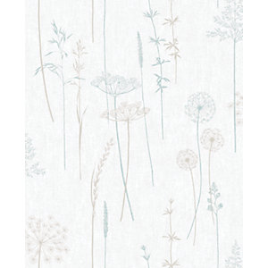 Superfresco Easy Meadow Duck Egg Decorative Wallpaper - 10m