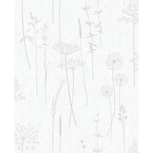Superfresco Easy Meadow Silver Decorative Wallpaper - 10m