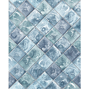 Contour Lagoon Blue Decorative Wallpaper - 10m