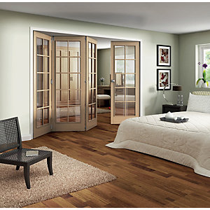 Jeld-Wen Fully Glazed Oak 10 Lite Internal Bi-Fold 4 Door Set - 2047 x 2545mm