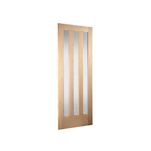 Jeld-Wen Aston Obscure Glazed Oak 3 Lite Internal Door - 1981mm x 686mm