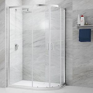 Nexa By Merlyn 6mm Chrome Offset Quadrant Double Sliding Door Shower Enclosure - Various Sizes Available
