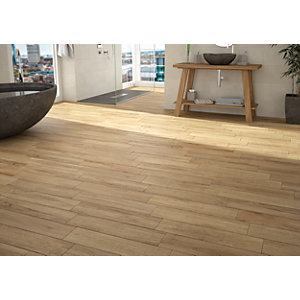 Wickes Mercia Oak Wood Effect Wall & Floor Tile - 600 x 150mm
