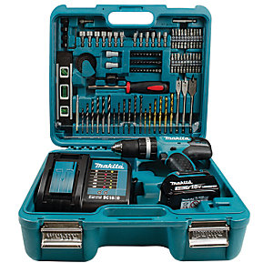 Makita DHP453FX12 18V Cordless Combi Drill 1 X 3.0Ah Li-Ion LXT Battery With 101 Piece Drill And Driver Set