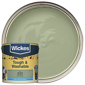 Wickes Olive Green - No.830 Tough & Washable Matt Emulsion Paint - 2.5L