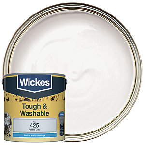 Wickes Pebble Grey - No.425 Tough & Washable Matt Emulsion Paint - 2.5L