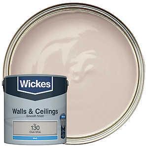 Wickes Chalk White - No.130 Vinyl Matt Emulsion Paint - 2.5L