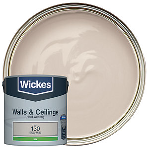 Wickes Chalk White - No.130 Vinyl Silk Emulsion Paint - 2.5L