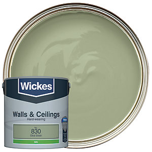 Wickes Olive Green - No.830 Vinyl Silk Emulsion Paint - 2.5L