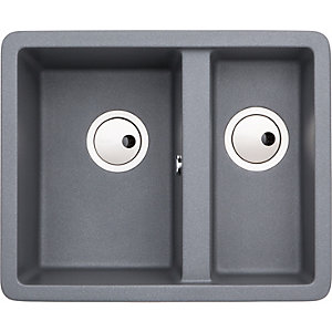 Abode Matrix Square 1.5 Bowl Composite Kitchen Sink - Grey