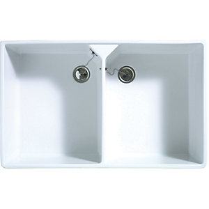 Wickes Butler 2 Bowl Ceramic Kitchen Sink - White
