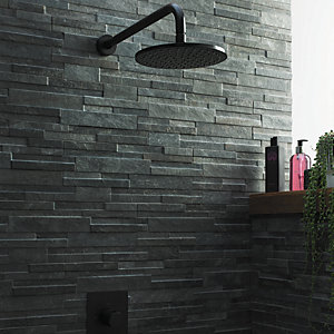Wickes Quarzo Black Splitface Porcelain Mosaic 394 x 160mm