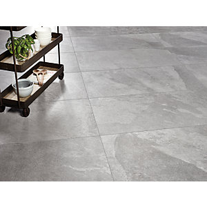 Wickes Boutique Akita Grey Glazed Porcelain Floor Tile - 1200 x 600mm