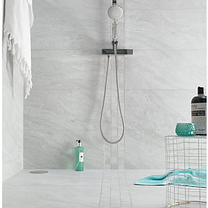 Wickes Boutique Kallo Stone Light Grey Glazed Porcelain Wall & Floor Tile - 600 x 300mm