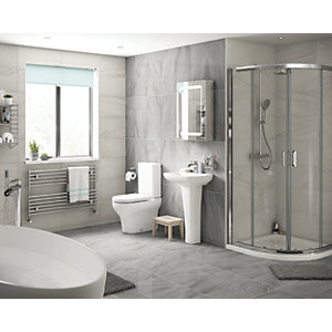 Wickes Boutique Belmont Grey Glazed Porcelain Wall & Floor Tile - 590 x 290mm