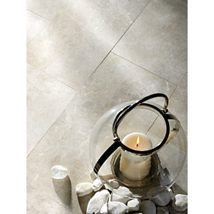 Wickes Boutique Platinum Polished Marble Wall & Floor Tile - 610 x 406mm