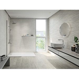 Wickes Boutique Vellore Grey Structure Ceramic Wall Tile - 850 x 280mm