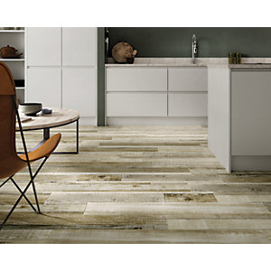 Wickes Boutique Kauri Natural Glazed Porcelain Wood Effect Wall & Floor Tile - 1140 x 200mm