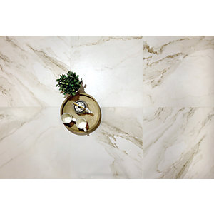 Wickes Boutique Calacatta Gold Lux Glazed Porcelain Wall & Floor Tile - 600 x 600mm