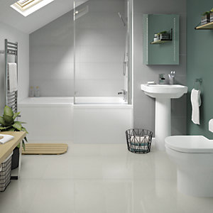 Wickes Boutique Smart White Lux Glazed Porcelain Wall & Floor Tile - 600 x 600mm