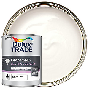 Dulux Trade Diamond Satinwood Paint - Pure Brilliant White 1L