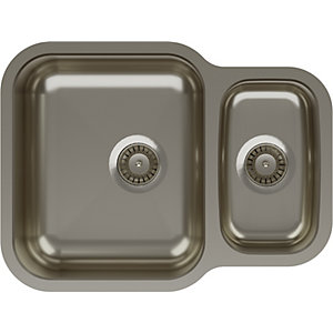 Abode Vista 1.5 Bowl Reversable Undermount Stainless Steel Kitchen Sink