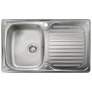 Leisure Linear Compact 1 Bowl Reversible Inset Stainless Steel Kitchen Sink