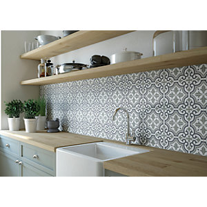 Wickes Melia Sage Patterned Ceramic Wall & Floor Tile - 200 x 200mm