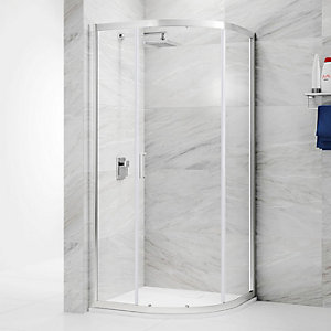 Nexa By Merlyn 6mm Chrome Offset Quadrant Single Sliding Door Shower Enclosure - Various Sizes Available