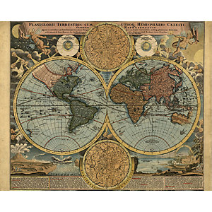 ohpopsi Old Map In Colour Wall Mural - L 3m (W) x 2.4m (H)