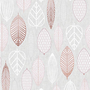Superfresco Easy Pink Scandi Leaf Wallpaper - 10m