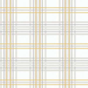 Superfresco Easy Country Tartan Wallpaper Yellow - 10m